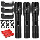 Tactical 15000LM T6 LED Zoomable Flashlight Lamp 18650 Battery Charger Bike Clip