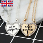 Fashion Best Friend Heart Rhinestone 2 Pendants Necklace Bff Friendship Gifts G