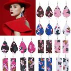 Handmade Chic Flower Butterfly Waterdrop Leather Hook Earrings Geometric Dangle