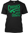 Drinks Well With Other Irish St Patrick S Day T-shirts Tee US 100% cotton trend