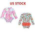 Newborn Baby Girls Swimsuit Floral Long Sleeve Rash Guard Bathing Beach Swimwear