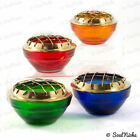 Glass Charcoal Incense Burner with Mesh Screen: Red Green Blue Org