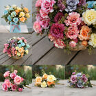 Artificial Fake Wedding Bouquet Home Party Pink Red Rose Flower Decor Decoration