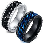 Stainless Steel Gear Edge Thin Blue LIne Spinning Band Ring Silver or Black