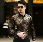 Mens Dress T-Shirts Gold Flower Print Business Long Sleeves Slim Fit Top Jd_uk
