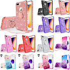 For Apple iPhone 8 Plus Cute Ring Stand Glitter Bling Phone Case w/Kickstand