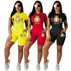 Summer new women short sleeves printed casual sporty short outfit jumpsuit 2pcs