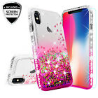 For Apple iPhone XR Cute Ring Stand Glitter Bling Phone Case w/Kickstand