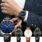 Men Business Watch Fashion Leather Band Analog Quartz Simple Round Wrist Watches image