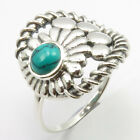 925 Pure Silver Turquoise LEAF Ring Size 9 Engagement Art Jewelry
