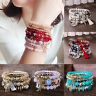 4Pcs Boho Multilayer Natural Stone Crystal Bangle Beaded Bracelet Jewelry Set image