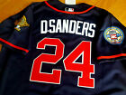 Brand New Atlanta Braves #24 Deion Sanders cooperstown 2patches Jersey Free ship on Ebay