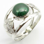 925 Fine Silver Cab Malachite Ring Size 9.5 Proposal Gift Jewellery