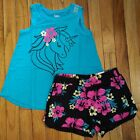 NWT Justice Girls Outfit Unicorn Tank Top/Shorts Size 6 7 8 10