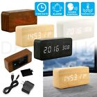 Modern Wooden Wood USB/AAA Digital LED Alarm Clock Calendar Thermometer New