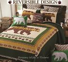 RUSTIC BLACK BEAR PAW LOG CABIN FQK QUILT SET MOUNTAIN FOREST NATURE GREEN BROWN
