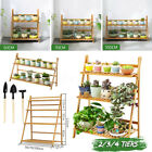 Flower Pot Plant Stand Rack Wood Shelf Garden Indoor Outdoor Patio 2/3/4