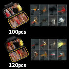 120 pcs Fly Fishing Flies Assortment Trout Fly Fishing Flies Wet Dry Flies Lures