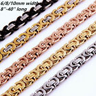 """6/8/11mm Fashion Stainless Steel Womens Men Chain Flat Byzantine Necklace 7""""-40"""""""