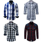 New Mens Casual Button Down Dress Shirt Long Sleeve Slim Fit Plaid Cotton Shirts