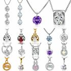 Women Gold Silver Crystal Zircon Love Heart Pendant Necklace Jewelry Party Gift