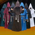 Halloween Costumes Mens Friar Hooded Monk Priest Robe Cape Cloak Fancy Dress NEW