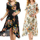 Women Maternity Pregnancy Mom Casual Party Floral V Neck Short Sleeve Long Dress