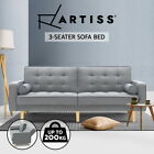 Artiss Sofa Bed Lounge Futon Couch Beds 3 Seater Fabric Wood Scandi 195cm Grey