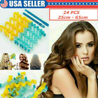 24pcs Water Wave Magic Curlers Leverage Former Kits Spiral Hairdressing 25-65cm