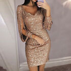 Women Lady Sequin V-neck Sexy Bodycon Cocktail Evening Party Mini Pencil Dress