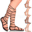 WOMENS LADIES FLAT STRAPPY HIGH LACE UP TIE UP ZIP LEG GLADIATOR SANDALS SIZE