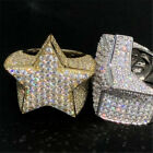 Ring Iced Out Wedding Size 6-12 Gold 3d Star Men's Hip Hop Lab Pinky