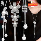 Women Long Tassel Pearl Flower Crystal Pendant Necklace Chain Sweater Jewelry Uk