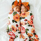 2PCS 0-2M Newborn Baby Boy Girl Floral Swaddle Hat Sleeping Bag Blanket Wrap Set