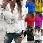 Women V Neck Letters Printing Shirt Button Long Sleeve Tee Tops Blouse D78