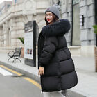 UK Women Winter Warm Coat Down Fur jacket Puffer Parka Long hooded Ladies Jacket