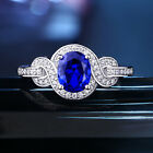 Gemstone Ring For Women Oval Blue Sapphire White Cz 925 Sterling Silver Sz 5-10