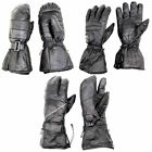 Snowmobile Gloves Adult Leather 3 Finger Snow Warm Ski Winter Black