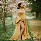 Women Pregnancy Maternity Photography Off Shoulder Solid Flare Long Sleeve Dress