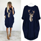 Women Christmas Xmas Jumper Mini Dress Baggy Pocket Pullover Long Tops Plus Size