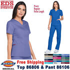 Dickies Scrubs Set EDS SIGNATURE Women Mock Wrap Top  Pull on Pant 86806/86106