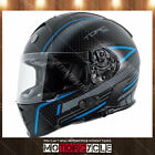 T14B Full Face Motorcycle Helmet Bluetooth Street Flat Black Scramble Blue M DOT