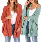 Women Cardigans Ladies Loose Knitwear Coat Open Front Pockets Sweater Pure Color