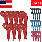 Golf Iron Head Covers Set 9 Pack Headcover PU Leather Long Neck 4 Colors