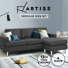 Artiss Sofa Lounge Set Couch Futon Corner Chaise L-Shape 3 Seater Suite Grey