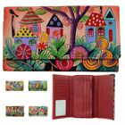 Anna Anuschka Hand Painted Genuine Leather Trifold Wallet CC ID  Bill Pockets