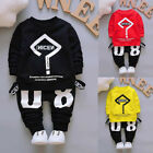 Toddler Infant Baby Kids Boy Girl Outfits Print T-shirt Tops+Pant Clothes Set US