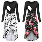 Women Maternity Nursing Casual Party Floral Patchwork Tunic Long Sleeve Dress US