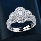 Wedding Band Engagement Ring Set For Women Oval White Cz Sterling Silver 5-10