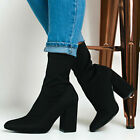 Women Ankle Boots Mid Block Heels Ladies Stretch Zipper Winter Party Sock Shoes